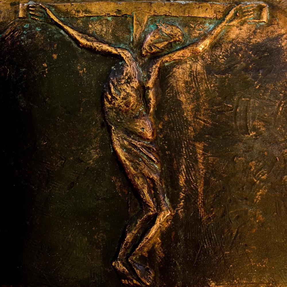 Auschnitt aus dem Taufbacken: Darstellung der Kreuzigung
